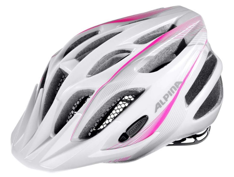 Přilba ALPINA FB Junior 2.0 Flash white-pink-silver (s blikačkou) 50-55cm