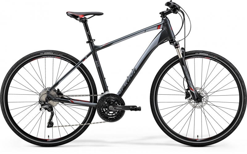 MERIDA CROSSWAY 600 Matt Dark Grey(Red/Silver Gry) 2018 vel. M (51cm)